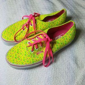 Vans fluorescent floral lace up shoes
